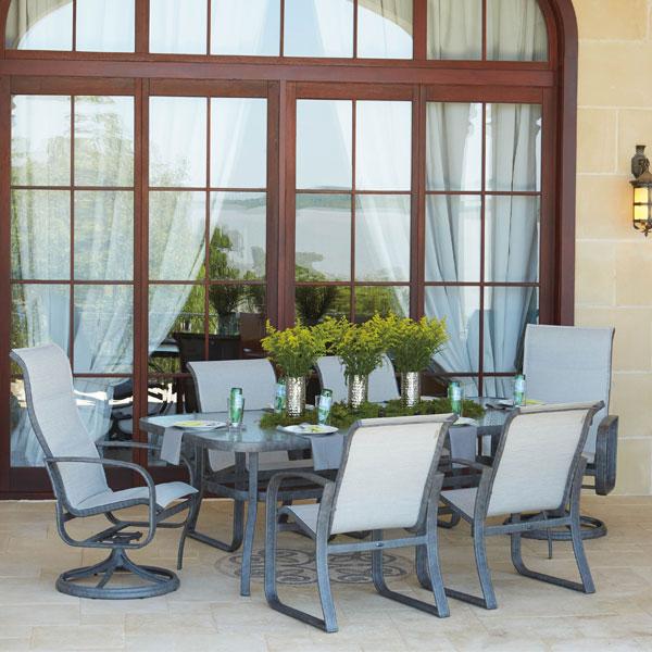 Seasonal Concepts Cayman Isle Sling Aluminum Dining Set By Woodard Seasonal Concepts